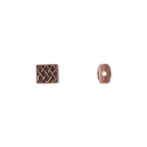 bead, antique copper-finished pewter (zinc-based alloy), 6x5.5mm rectangle with celtic knot design and 0.7mm hole. sold per pkg of 24.