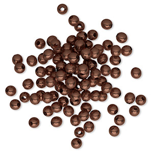 bead, antique copper-plated brass, 3mm round. sold per pkg of 100.