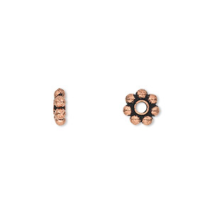 bead, antique copper-plated copper, 7x3mm beaded rondelle with 2.1-2.2mm hole. sold per pkg of 30.