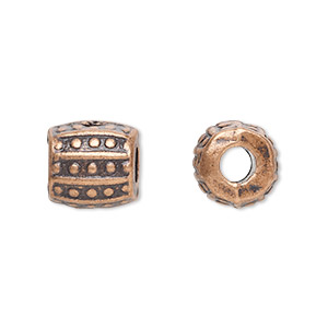 bead, antique copper-plated pewter (zinc-based alloy), 10x10mm barrel with 3.5mm hole. sold per pkg of 20.