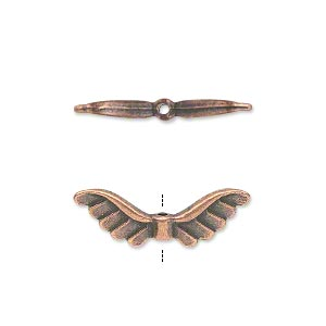 bead, antique copper-plated pewter (zinc-based alloy), 24x8mm double-sided angel wings. sold per pkg of 20.