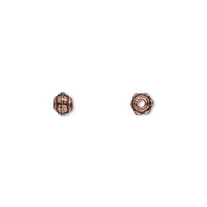 bead, antique copper-plated pewter (zinc-based alloy), 5x4mm beaded rondelle. sold per pkg of 500.