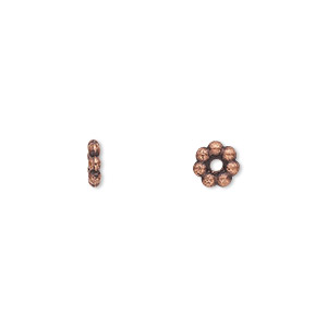 bead, antique copper-plated pewter (zinc-based alloy), 6x2mm double-sided rondelle. sold per pkg of 100.