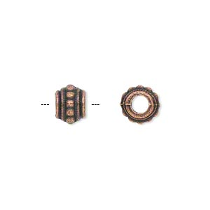 bead, antique copper-plated pewter (zinc-based alloy), 8x6mm beaded barrel with 3.5mm hole. sold per pkg of 500.