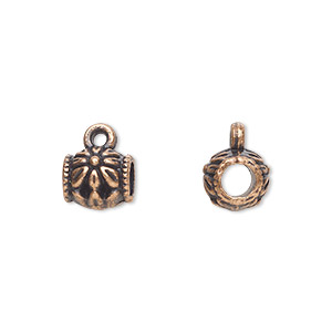 bead, antique copper-plated pewter (zinc-based alloy), 8x7mm cylinder with flower design, 3.5mm hole and closed loop. sold per pkg of 20.