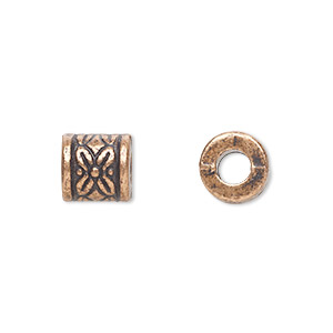 bead, antique copper-plated pewter (zinc-based alloy), 8x8mm filigree cylinder, 3mm hole. sold per pkg of 20.