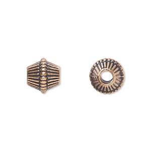 bead, antique copper-plated pewter (zinc-based alloy), 9x9mm corrugated bicone with 2.5mm hole. sold per pkg of 20.