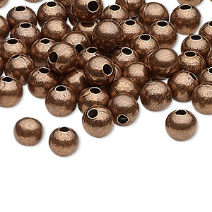bead, antique copper-plated steel, 6mm round with 2mm hole. sold per pkg of 100.
