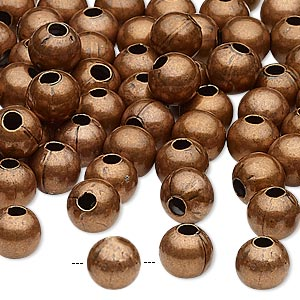 bead, antique copper-plated steel, 8mm round with 2.5mm hole. sold per pkg of 100.