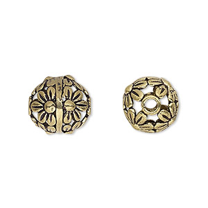 bead, antique gold-finished brass, 12mm round with flowers, 2mm hole. sold per pkg of 4.