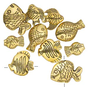 bead, antique gold-finished pewter (zinc-based alloy), 14x10mm-23x16mm assorted double-sided fish. sold per pkg of 10.