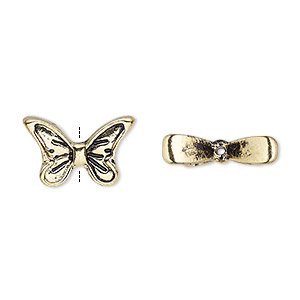 bead, antique gold-finished pewter (zinc-based alloy), 16.5x10.5mm butterfly wings. sold per pkg of 4.