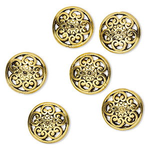 bead, antique gold-finished pewter (zinc-based alloy), 16mm double-sided filigree puffed flat round. sold per pkg of 6.
