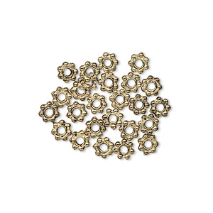 bead, antique gold-finished pewter (zinc-based alloy), 4x1mm beaded rondelle with dots. sold per pkg of 24.