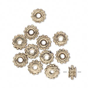 bead, antique gold-finished pewter (zinc-based alloy), 8x5mm studded beaded rondelle with flat side, 2mm hole. sold per pkg of 12.