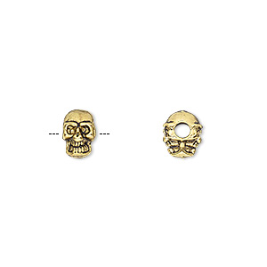bead, antique gold-finished pewter (zinc-based alloy), 8x6mm double-sided skull with 2mm hole. sold per pkg of 50.