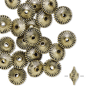 bead, antique gold-finished pewter (zinc-based alloy), 9x5mm ribbed rondelle. sold per pkg of 24.