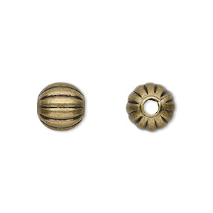 bead, antique gold-plated brass, 10mm corrugated round. sold per pkg of 100.