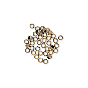 bead, antique gold-plated brass, 2.5mm micro round. sold per pkg of 100.