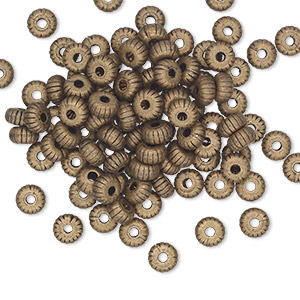 bead, antique gold-plated brass, 4.5x2.5mm corrugated rondelle. sold per pkg of 100.