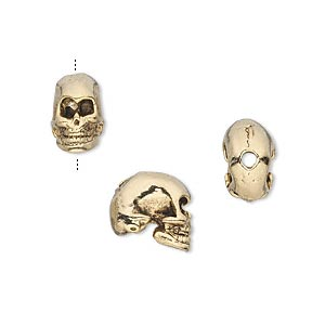 bead, antique gold-plated pewter (tin-based alloy), 10x6mm skull. sold per pkg of 2.