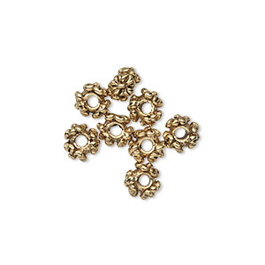 bead, antique gold-plated pewter (tin-based alloy), 6x4mm floral rondelle. sold per pkg of 8.