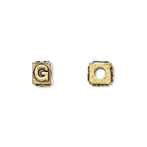 bead, antique gold-plated pewter (tin-based alloy), 8x6mm rectangle with alphabet letter g and 3mm hole. sold per pkg of 4.
