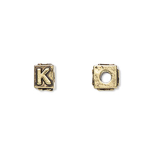 bead, antique gold-plated pewter (tin-based alloy), 8x6mm rectangle with alphabet letter k and 3mm hole. sold per pkg of 4.