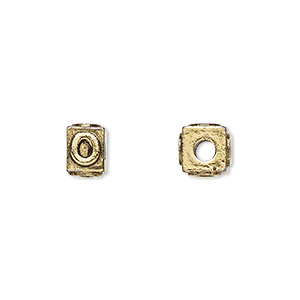 bead, antique gold-plated pewter (tin-based alloy), 8x6mm rectangle with alphabet letter o and 3mm hole. sold per pkg of 4.