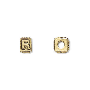 bead, antique gold-plated pewter (tin-based alloy), 8x6mm rectangle with alphabet letter r and 3mm hole. sold per pkg of 4.