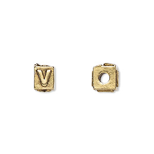 bead, antique gold-plated pewter (tin-based alloy), 8x6mm rectangle with alphabet letter v and 3mm hole. sold per pkg of 4.