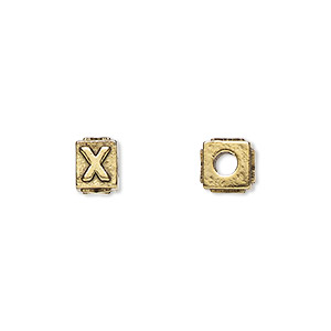 bead, antique gold-plated pewter (tin-based alloy), 8x6mm rectangle with alphabet letter x and 3mm hole. sold per pkg of 4.