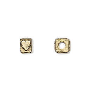 bead, antique gold-plated pewter (tin-based alloy), 8x6mm rectangle with heart, 3mm hole. sold per pkg of 4.
