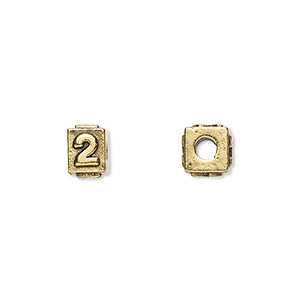 bead, antique gold-plated pewter (tin-based alloy), 8x6mm rectangle with number 2, 3mm hole. sold per pkg of 4.