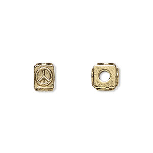 bead, antique gold-plated pewter (tin-based alloy), 8x6mm rectangle with peace symbol, 3mm hole. sold per pkg of 4.