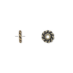 bead, antique gold-plated pewter (zinc-based alloy), 7x2mm rondelle with twisted rope design. sold per pkg of 24.