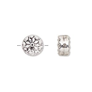 bead, antique silver-finished pewter (zinc-based alloy), 10mm double-sided flat round with flower design. sold per pkg of 10.