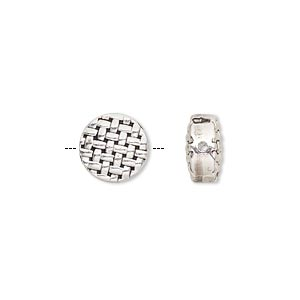 bead, antique silver-finished pewter (zinc-based alloy), 10mm double-sided flat round with weave design. sold per pkg of 10.