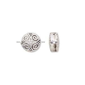 bead, antique silver-finished pewter (zinc-based alloy), 10mm double-sided flat round with spiral design. sold per pkg of 10.