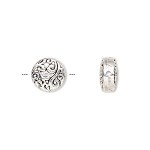 bead, antique silver-finished pewter (zinc-based alloy), 10mm double-sided flat round with paisley design. sold per pkg of 10.