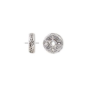 bead, antique silver-finished pewter (zinc-based alloy), 10x3mm rondelle with teardrop design. sold per pkg of 10.