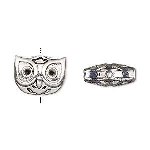 bead, antique silver-finished pewter (zinc-based alloy), 15x12mm owl face. sold per pkg of 4.