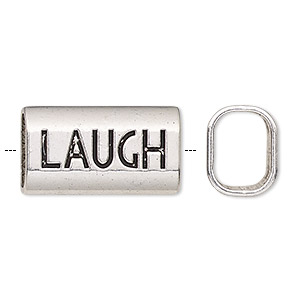 bead, antique silver-finished pewter (zinc-based alloy), 23x13mm single-sided rectangle with laugh and 11x8mm hole. sold per pkg of 20.