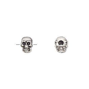 bead, antique silver-finished pewter (zinc-based alloy), 8x6mm double-sided skull with 2mm hole. sold per pkg of 50.