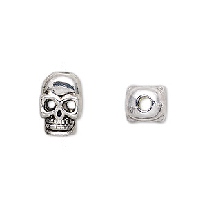 bead, antique silver-finished pewter (zinc-based alloy),14x10mm double-sided skull with 3mm hole. sold per pkg of 6.