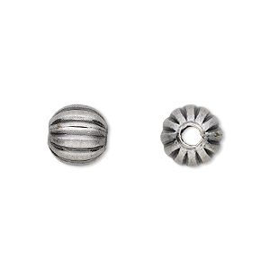 bead, antique silver-plated brass, 10mm corrugated round. sold per pkg of 100.