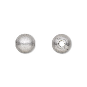 bead, antique silver-plated brass, 10mm round with 3mm hole. sold per pkg of 100.
