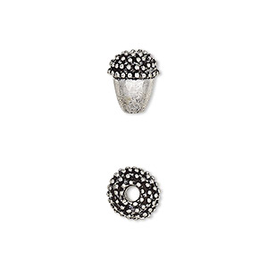 bead, antique silver-plated brass, 10x8mm beaded acorn with 2mm hole. sold per pkg of 2.