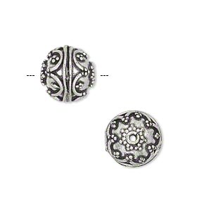 bead, antique silver-plated brass, 11mm beaded round. sold per pkg of 4.
