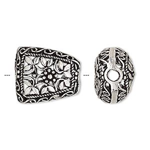 bead, antique silver-plated brass, 19x17mm trapezoid with cutout flower and leaf design, 2.5mm hole. sold per pkg of 2.
